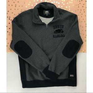 Roots Gray Velvet Logo 1/4 Zip Sweatshirt Size M